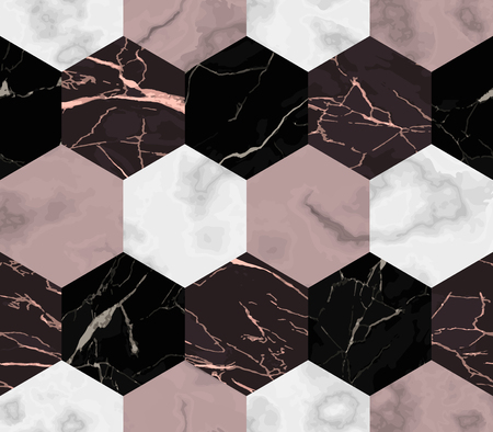 Vector white, pink and black hexagon marble seamless pattern. Repeat stripe marbling surface, modern luxurious chessboard background, luxury wallpaper, textile print and tile.