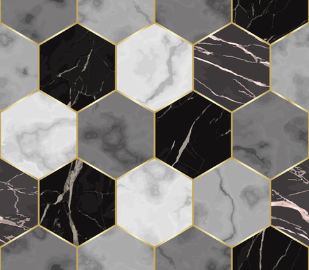 Vector nahtloses Muster des weißen, grauen und schwarzen Hexagonmarmors. Wiederholen Sie die chaotische Marmorierungsoberfläche mit goldenen geometrischen Elementen, modernem luxuriösem Hintergrund, Tapete, Textildruck und Fliese. Vektorgrafik