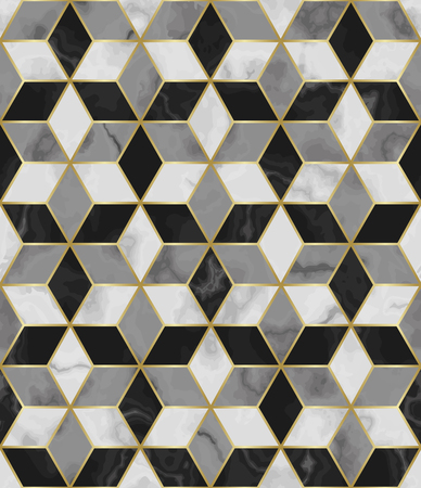 Luxury marble star sign seamless pattern. Repeat marbling surface with gold decor, modern luxurious background, wallpaper, textile print and tile. Ilustracje wektorowe