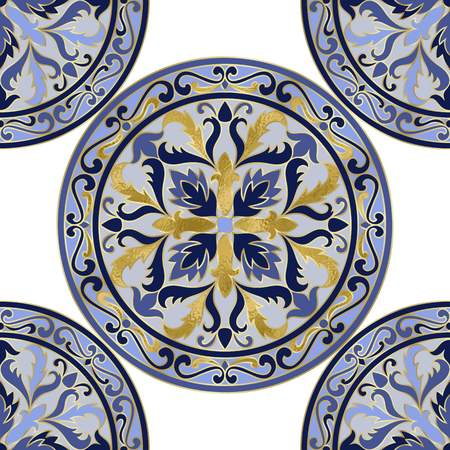 Vector mosaic classic blue and white seamless pattern with gold foil elements. Abstract floral round repeat medallion background for interior decoration, ceramic tile, textile prints.