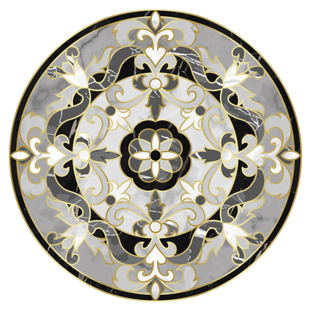 Luxury marble pattern with classic floral medallion. Marbling composition, modern luxurious background, wallpaper, textile print, interior decor and tile.