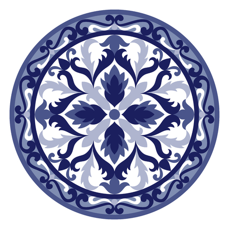 Vector mosaic classic blue and white medallion. Abstract floral round majolica composition for interior decoration, ceramic tile, textile prints. Illustration