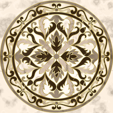 Luxury marble seamless pattern with classic floral medallion. Repeat marbling composition with gold elements, modern luxurious background, wallpaper, textile print and interior tile.
