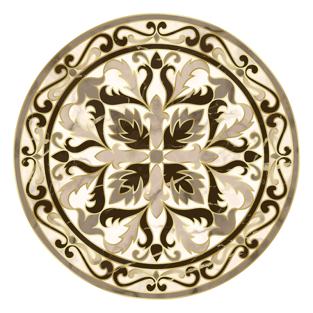 Luxury marble pattern with classic floral medallion. Repeat marbling composition with gold elements, modern luxurious background, wallpaper, textile print and interior tile.