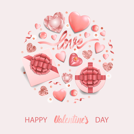 Happy Valentines Day Card with top view objects set on pink background. Romantic pattern for greeting and birthday cards, wedding invitation, gift voucher and covers with text place. Illustration