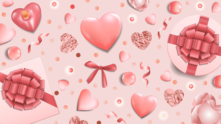 Greeting web banner with pink top view objects on pink background. Romantic backdrop for greeting and birthday cards, wedding invitation, gift voucher and covers.