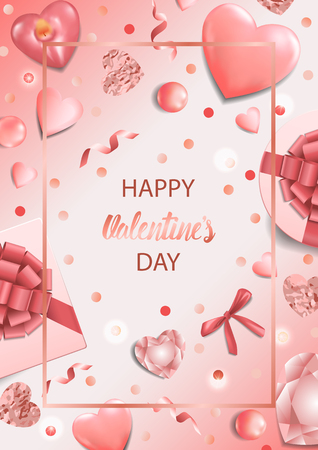 Happy Valentines Day Card with top view objects on pink background. Romantic A4 template for greeting and birthday cards, wedding invitation, gift voucher and covers with text place.