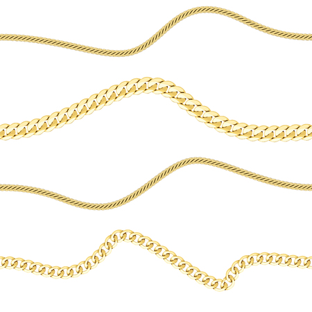 Golden chains horizon seamless pattern. Fashion luxury background with jewelry for textile prints, wallpapers, wrapping.