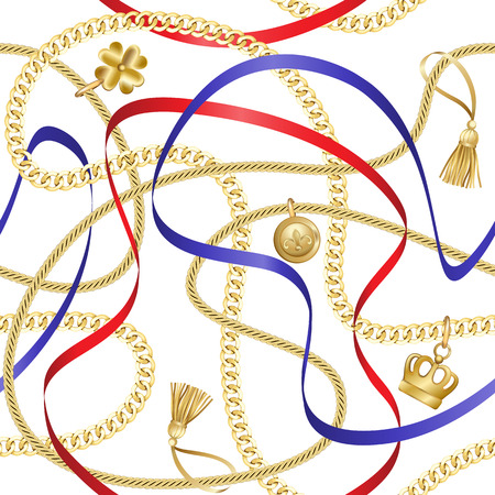 Golden chains and ribbons seamless pattern on white background. Fashion luxury gold background with jewelry for textile prints, wallpapers, wrapping, silk shawls.