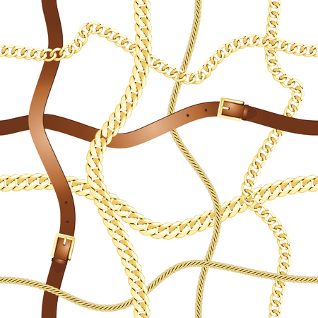 Belts and gold chain check seamless pattern