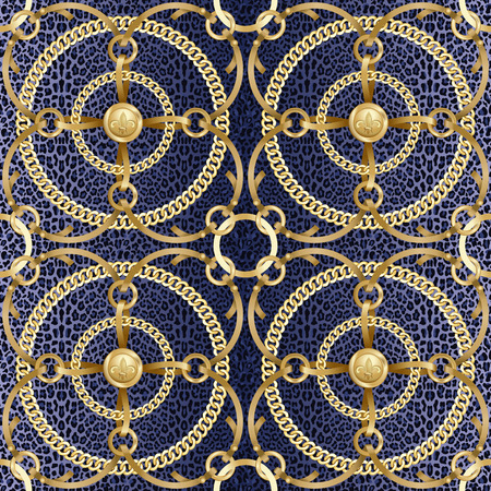Golden round chains and ribbon seamless pattern on blue leopard background. Fashion luxury gold and animal background with jewelry for textile prints, wallpapers, wrapping, silk shawls, tiles.