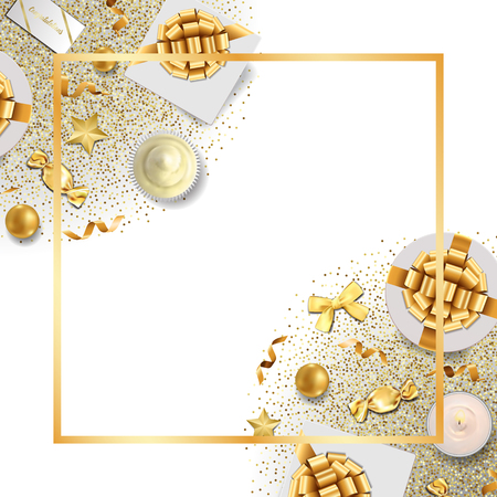 Greeting card template with top view gold festive items on white background. Luxury flat lay objects frame for greeting, birthday cards, wedding invites, gift voucher, covers with text palce.