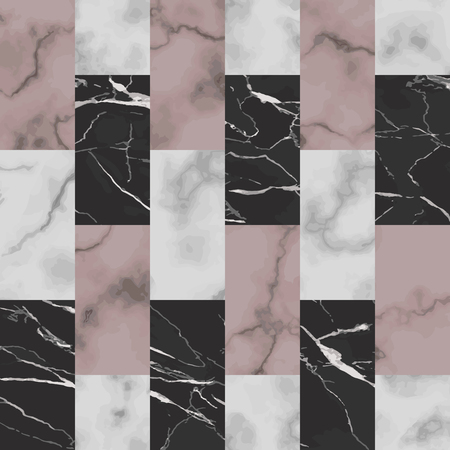 Vector white, pink and black brick marble seamless pattern. Repeat marbling surface, modern luxurious background, luxury vertical wallpaper, textile print and interior tile. Vectores