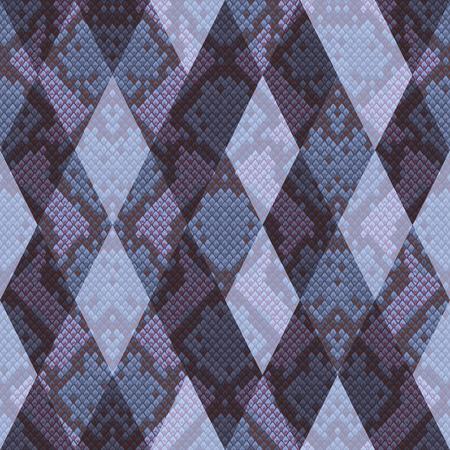 Vector snakeskin geometric seamless pattern. Pink and blue futuristic rhombus reptile surface, modern animal background, repeat wallpaper. Vektorgrafik