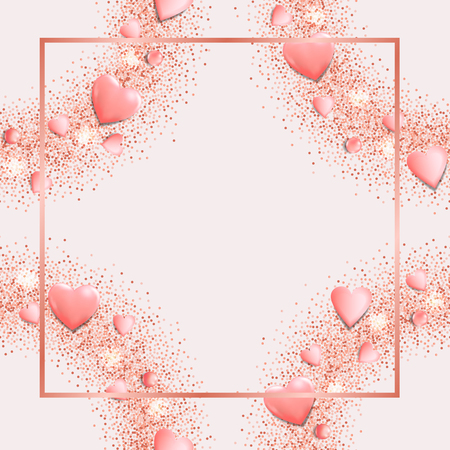 Glamour template with flat lay hearts and glitter. Pink romantic mock up for greeting, valentines and birthday card, wedding invitation, gift voucher and covers with text place. Illustration