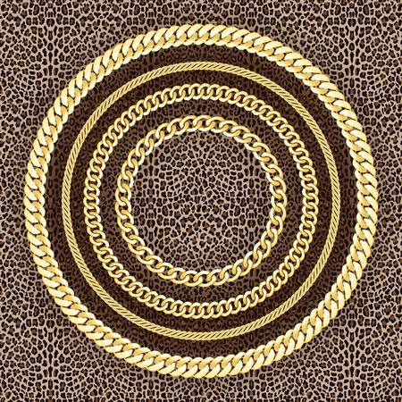 Gouden kettingen naadloze patroon op Leopard achtergrond. Vector Illustratie