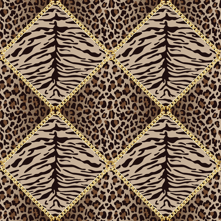 Golden squared chains seamless pattern with tiger leopard background. Fashion luxury gold and animal background with jewelry for textile prints, wallpapers, wrapping, silk shawls. Ilustração