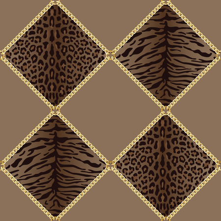 Golden squared chains seamless pattern with tiger leopard background. Fashion luxury gold and animal background with jewelry for textile prints, wallpapers, wrapping, silk shawls. Illustration