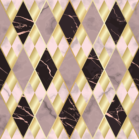 Vector marble seamless pattern with golden geometric diagonal lines. Gold, pink and maroon rhombus marbling surface, modern luxurious background, luxury wallpaper. Ilustracja
