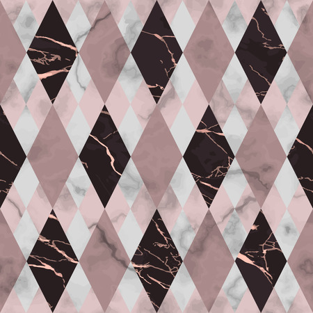 Vector marble seamless pattern. Pink and maroon rhombus marbling surface, modern luxurious background, geometric diagonal wallpaper.
