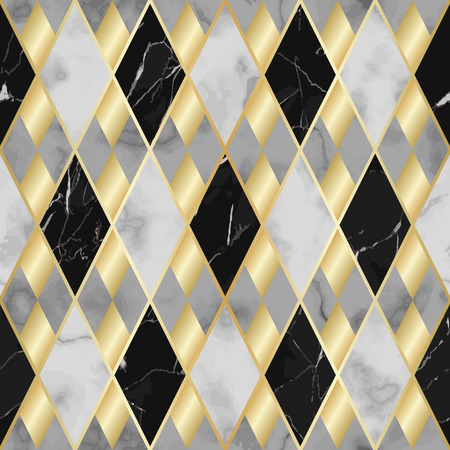 Vector marble seamless pattern with golden geometric diagonal lines. Gold, black and white rhombus marbling surface, modern luxurious background, luxury wallpaper. Illustration