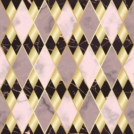 Vector marble seamless pattern with golden geometric diagonal lines. Gold, pink and maroon rhombus marbling surface, modern luxurious background, luxury wallpaper. Çizim