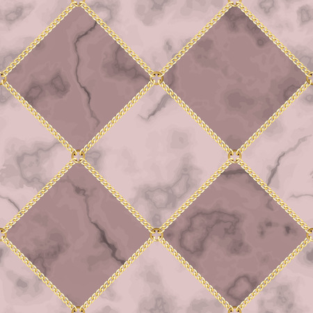 Vector marble and jewelry seamless pattern. Pink and maroon squared marbling surface with gold chain, modern luxurious background, geometric diagonal wallpaper. Ilustração