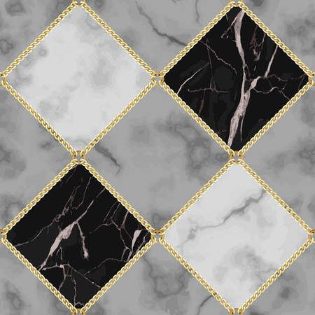 Vector marble and jewelry seamless pattern. Black, white and gray squared marbling surface with gold chain, modern luxurious background, geometric diagonal wallpaper.