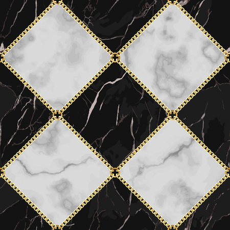 Vector marble and jewelry seamless pattern. Black and white squared marbling surface with gold chain, modern luxurious background, geometric diagonal wallpaper.