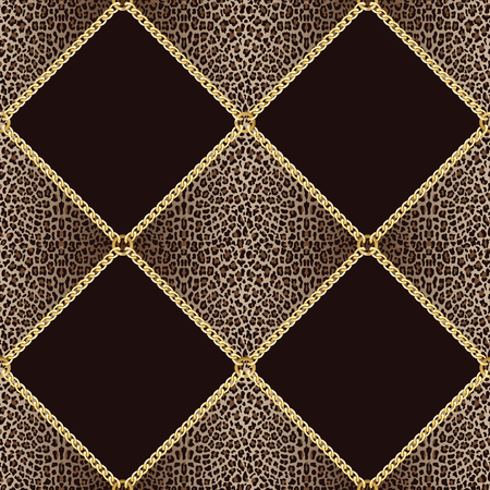 Golden squared chains seamless pattern on leopard background. Fashion luxury gold and animal background with jewelry for textile prints, wallpapers, wrapping, silk shawls. Illustration