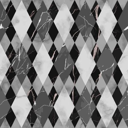 Vector marble seamless pattern. Black and white rhombus marbling surface, modern luxurious background, geometric diagonal wallpaper. Ilustração