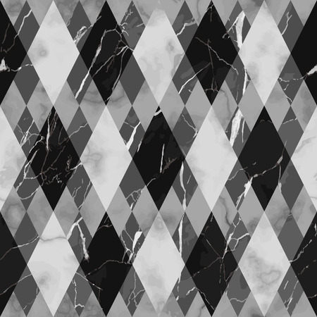 Vector marble seamless pattern. Black and white rhombus marbling surface, modern luxurious background, geometric diagonal wallpaper. Illustration