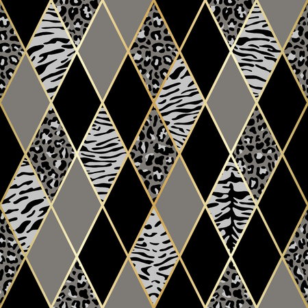 Vector leopard and tiger seamless pattern with golden geometric diagonal lines. Black, gray and white rhombus and animal surface, modern luxurious background, luxury wallpaper, textile print. Ilustração