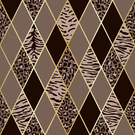 Vector leopard and tiger seamless pattern with golden geometric diagonal lines. Brown and beige rhombus and animal surface, modern luxurious background, luxury wallpaper, textile print.