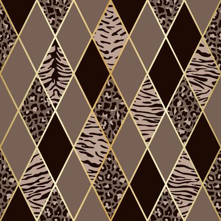 Vectorluipaard en tijger naadloos patroon met gouden geometrische diagonale lijnen. Bruin en beige ruit en dierlijk oppervlak, moderne luxe achtergrond, luxe behang, textielprint.