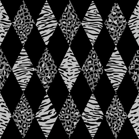 Vector leopard and tiger diagonal seamless pattern lines. Black and gray rhombus and animal geometric surface, modern patchwork background, luxury wallpaper, textile print.