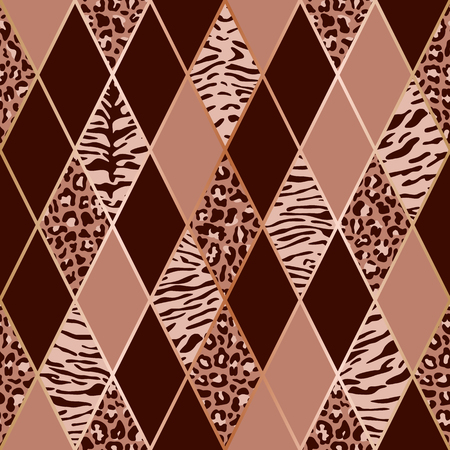 Vector leopard and tiger seamless pattern with golden geometric diagonal lines. Pink and maroon rhombus and animal surface, modern luxurious background, luxury wallpaper, textile print. Ilustração