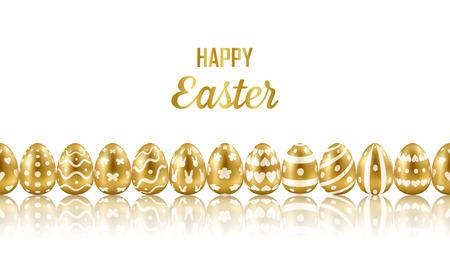 Easter Gold Eggs Horizon Seamless Web Banner