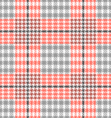 Check fashion tweed white, coral and gray seamless pattern for fashion textile prints, wallpaper, wrapping, trendy fabric imitation and backgrounds.