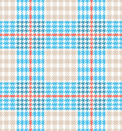 Check fashion tweed white, coral and blue seamless pattern for fashion textile prints, wallpaper, wrapping, trendy fabric imitation and backgrounds.
