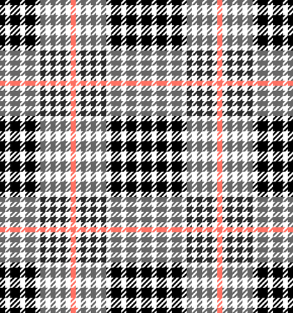 Check fashion tweed white, gray, coral and black seamless pattern for fashion textile prints, wallpaper, wrapping, trendy fabric imitation and backgrounds. Illustration