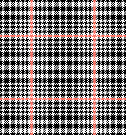 Check fashion tweed white, coral and black seamless pattern for fashion textile prints, wallpaper, wrapping, trendy fabric imitation and backgrounds.