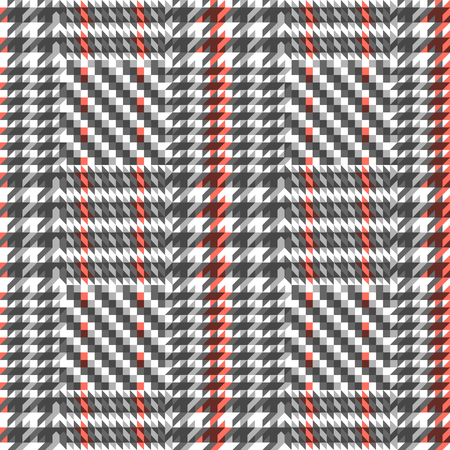 Check fashion tweed white, gray and coral seamless pattern for fashion textile prints, wallpaper, wrapping, fabric imitation and backgrounds. Illustration