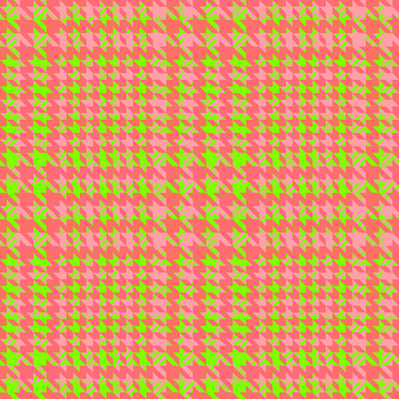 Check fashion tweed green and coral seamless pattern for fashion textile prints, wallpaper, wrapping, trendy fabric imitation and backgrounds. Illustration