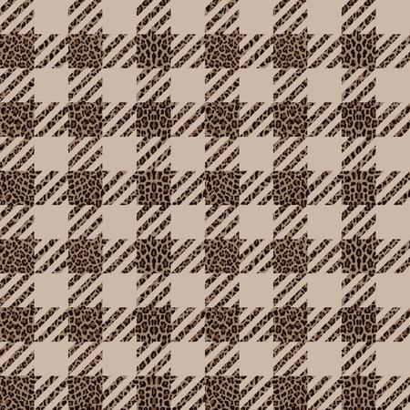 Vérifier et modèle sans couture de mode léopard. Arrière-plan tendance avec imprimé vichy et animal répété pour les imprimés textiles de mode, papier peint, emballage, imitation de tissu. Vecteurs