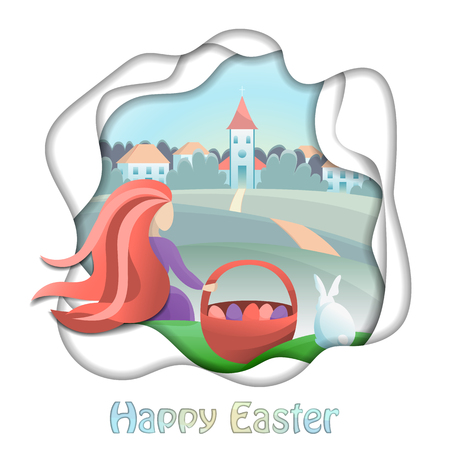 Happy Easter illustration with girl and countryside. Vector abstract modern composition with gradients and paper cut effect for greeting cards, prints, posters with text place .