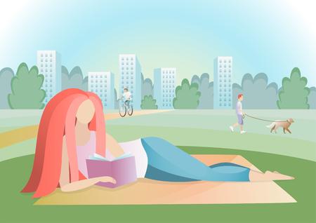 Girl reading book in the city park. Vector trendy illustration.
