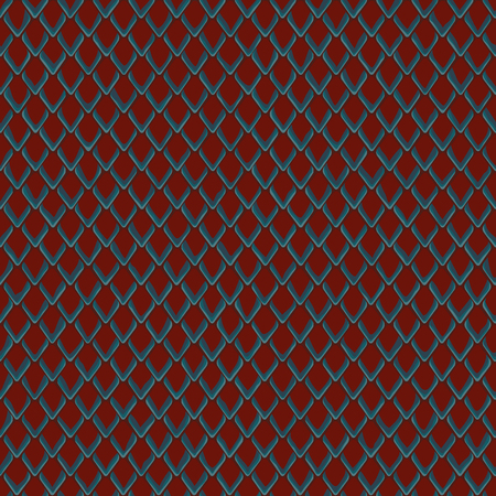 Snake skin red and blue seamless pattern. Animal repeat wallpaper for textile prints, backgrounds, wrapping. Stock Illustratie