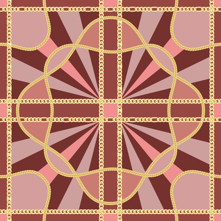 Golden squared chains seamless pattern on pink and maroon background. Fashion luxury gold and rays background with jewelry for textile prints, wallpapers, wrapping, silk shawls.