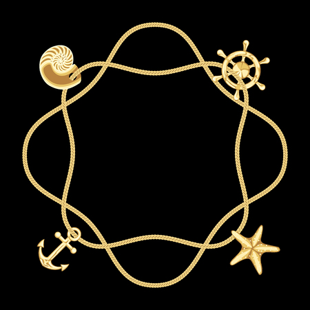 황금 해양 구성입니다. 벡터 패턴, 템플릿, 프레임